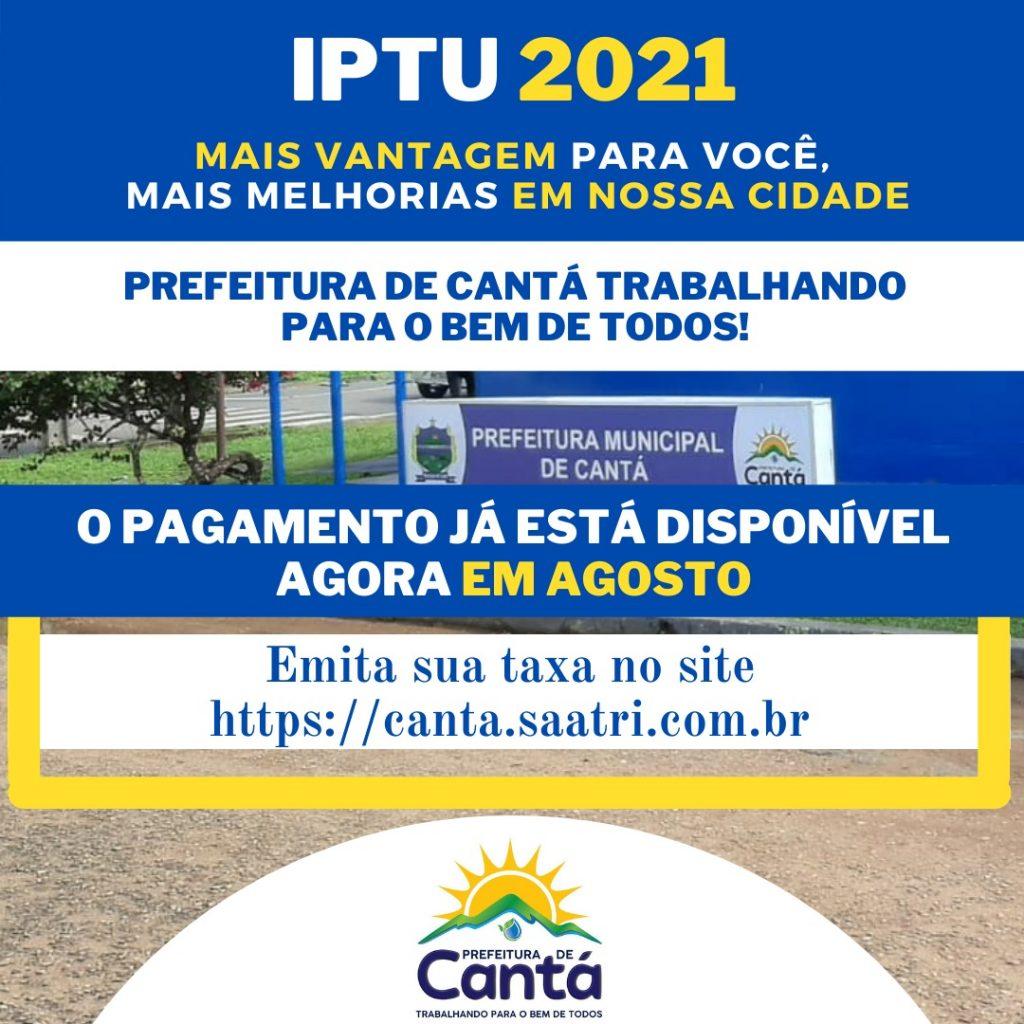 Atenção contribuintes o pagamento da taxa de IPTU vence no final do mês de agosto.